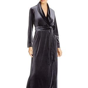 Natori Natalie Velvet Gray Anthracite Robe XS size
